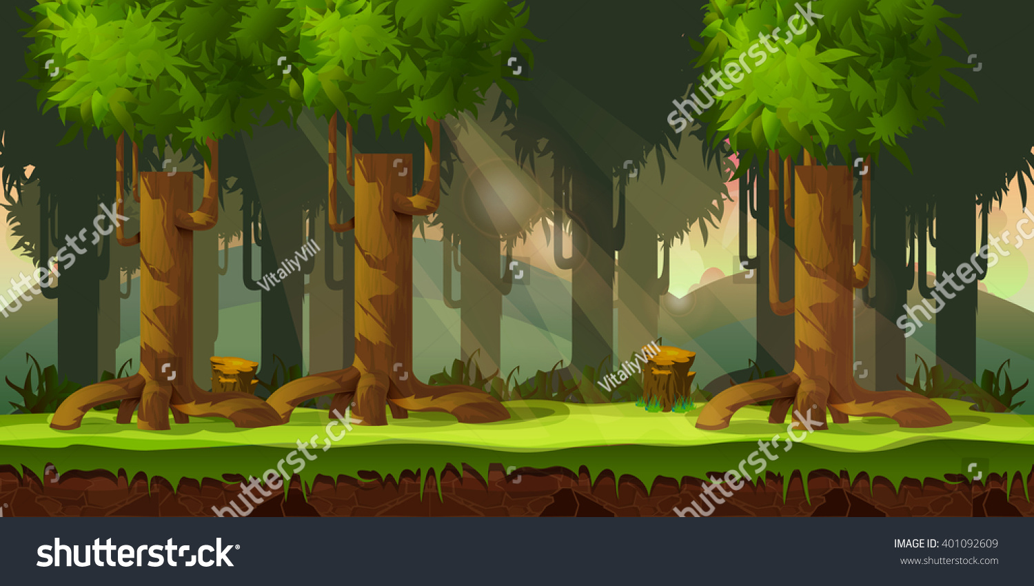 3d Wallpaper Parallax Free Forest Game Background 2d Game Application Stock Vector