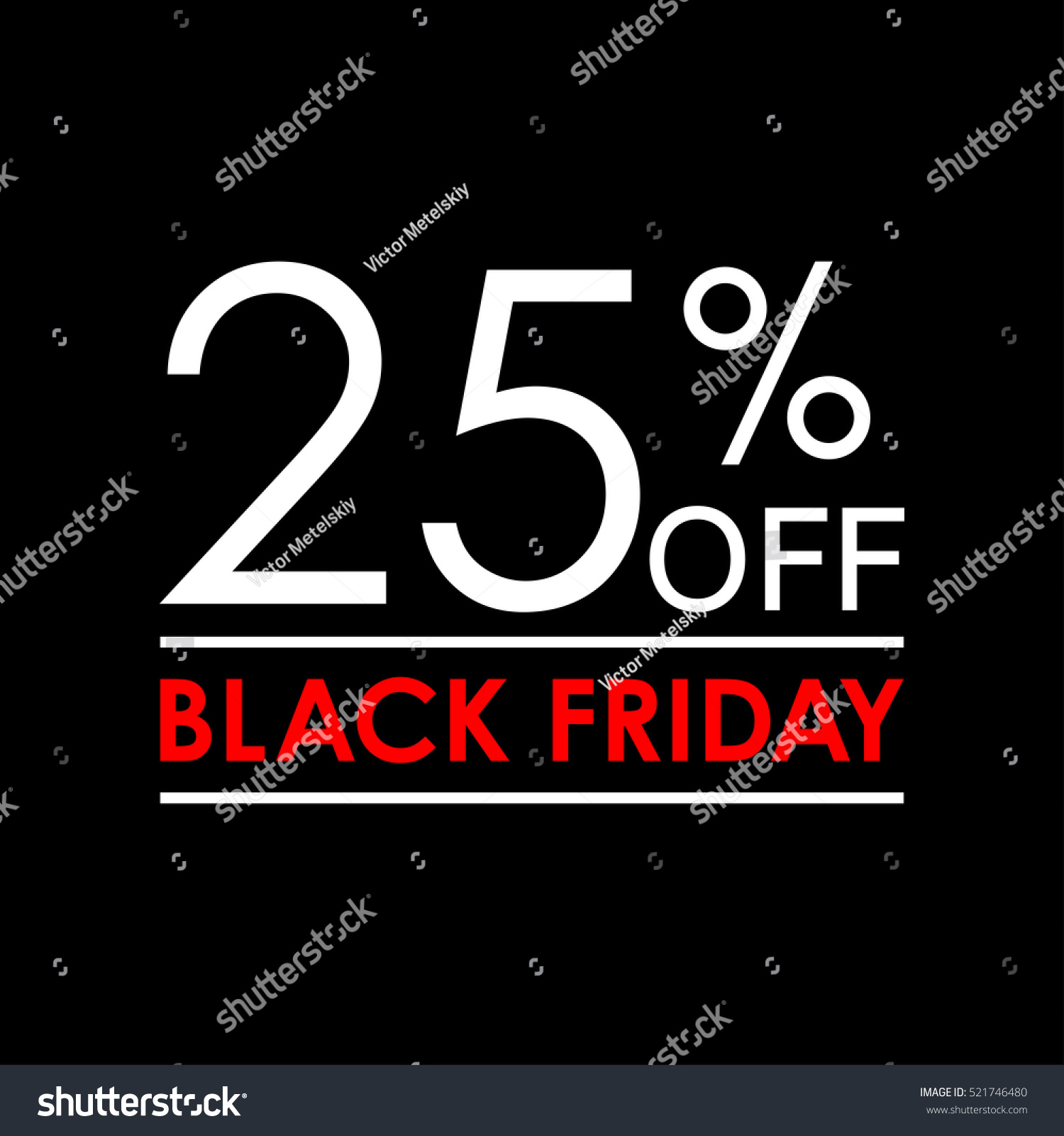 Black Friday Sale 25 Off Black Friday Sale Discount Stok Vektör Telifsiz 521746480