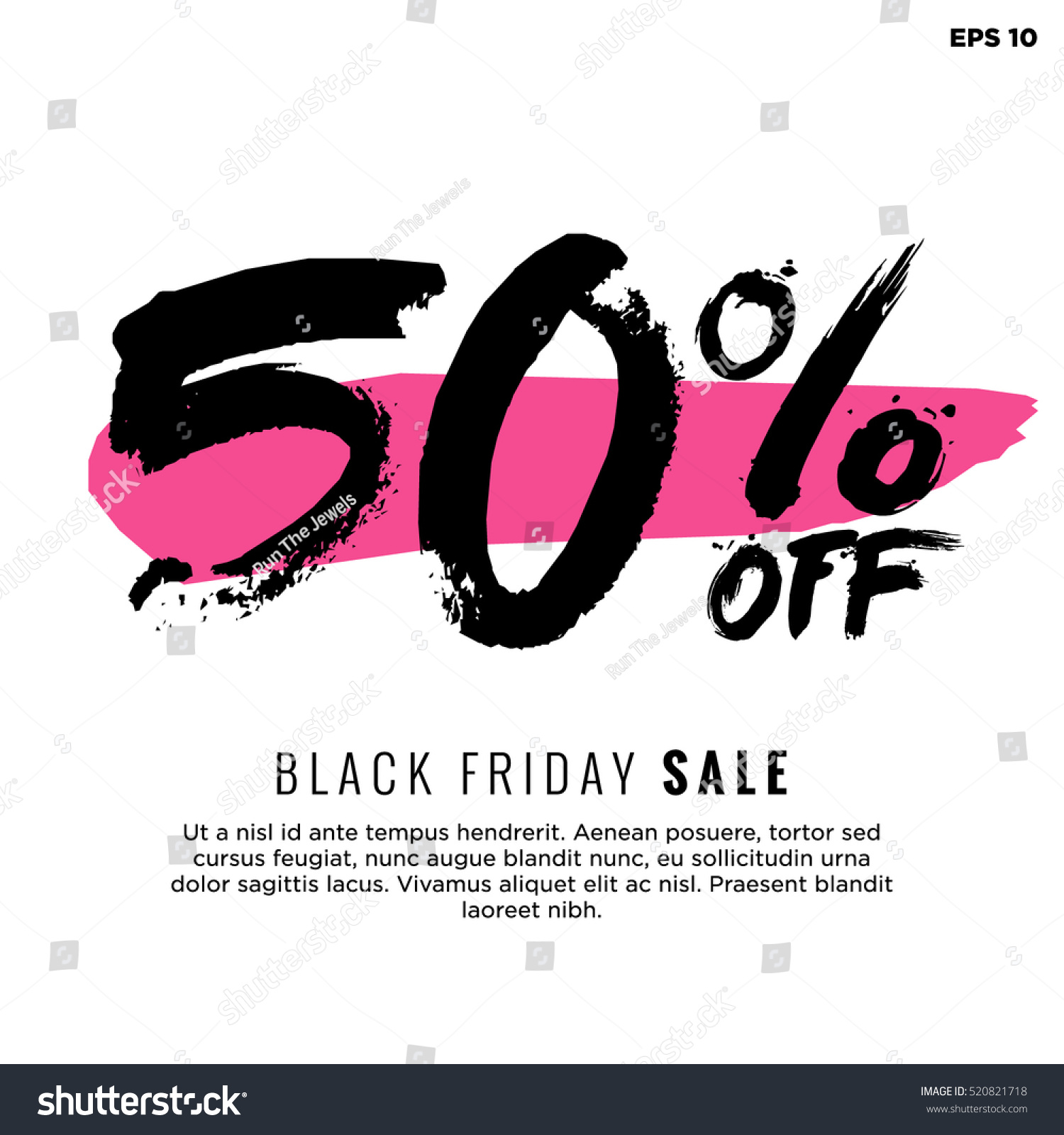 Black Sale 50 Off Black Friday Sale Promotional Stock Vector