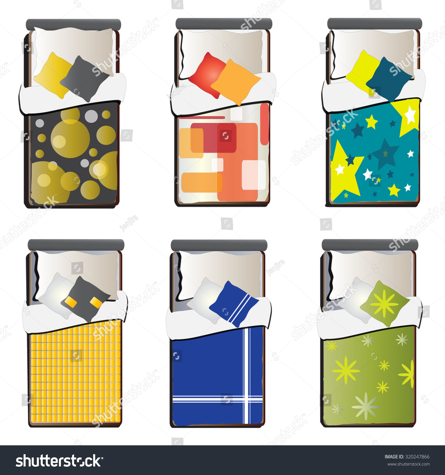 Single bed top view set 5 for interior vector illustration