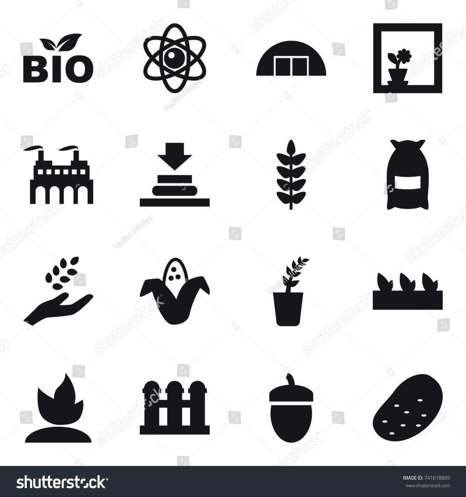 Grain Bio 16 Vector Icon Set Bio Atom Stock Vector Royalty Free 741618889