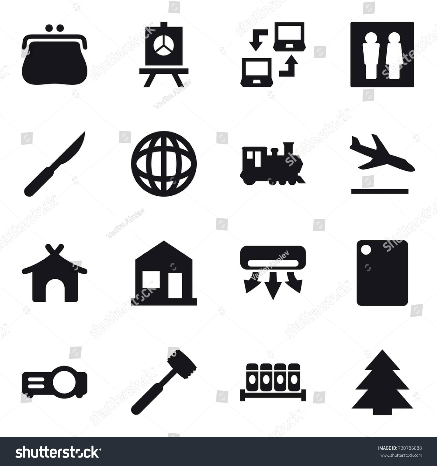 Connect Wc 16 Vector Icon Set Purse Presentation Stock Vector Royalty Free