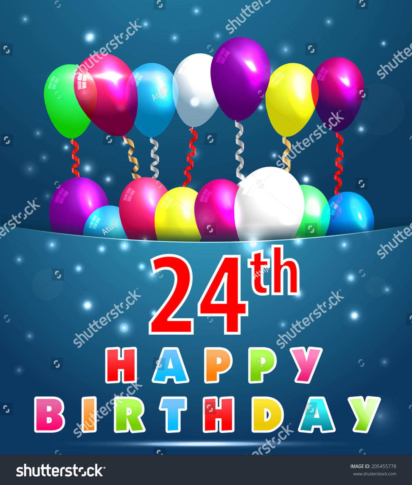 24 Year Happy Birthday Card Balloons Stock Vector Royalty Free 205455778
