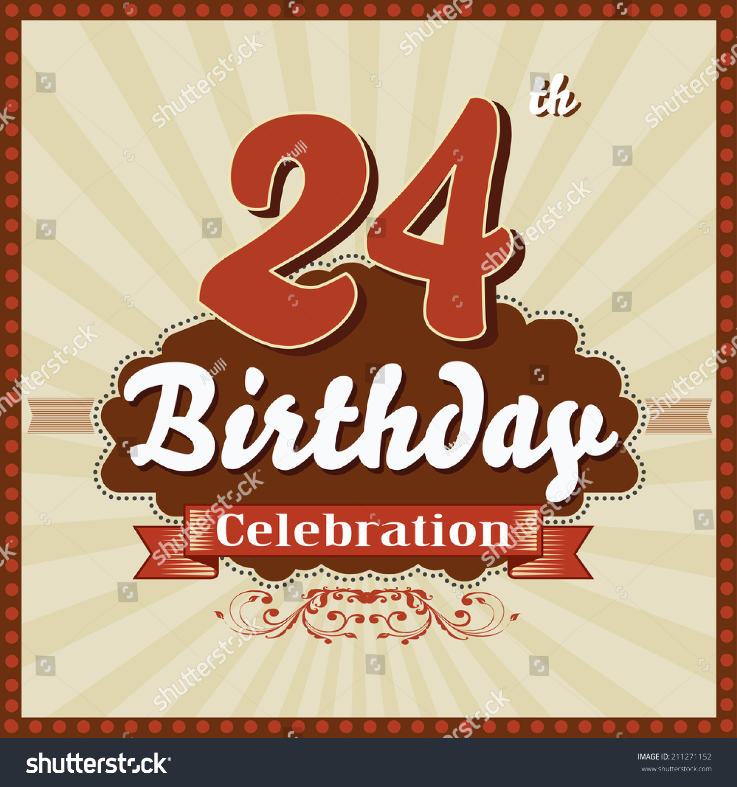 Happy 24 24 Years Celebration 24th Happy Birthday Stock Vector