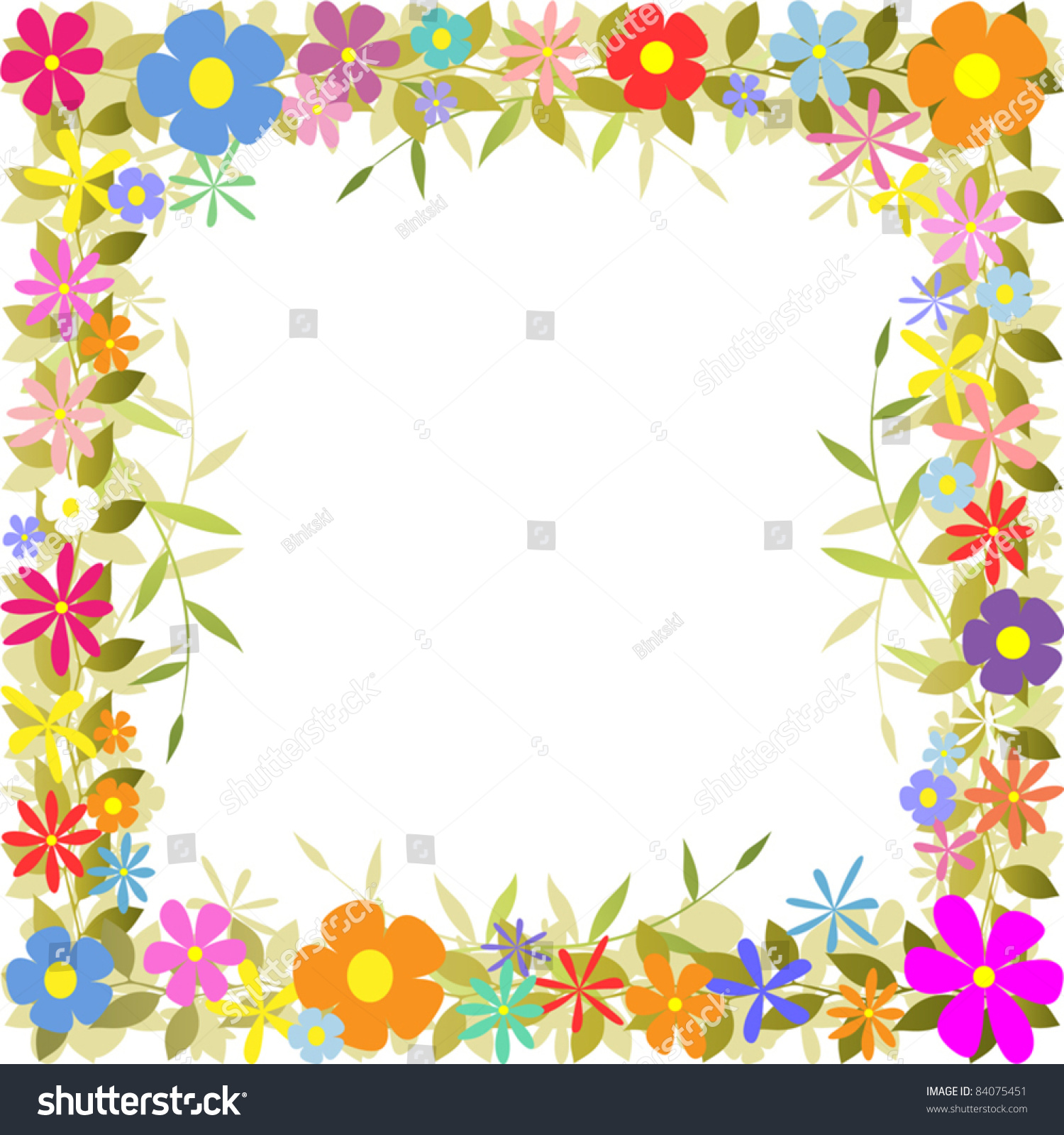 Cute Bordered Pastel Flower Wallpaper Floral Border Flowers Leaves Stock Vector 84075451