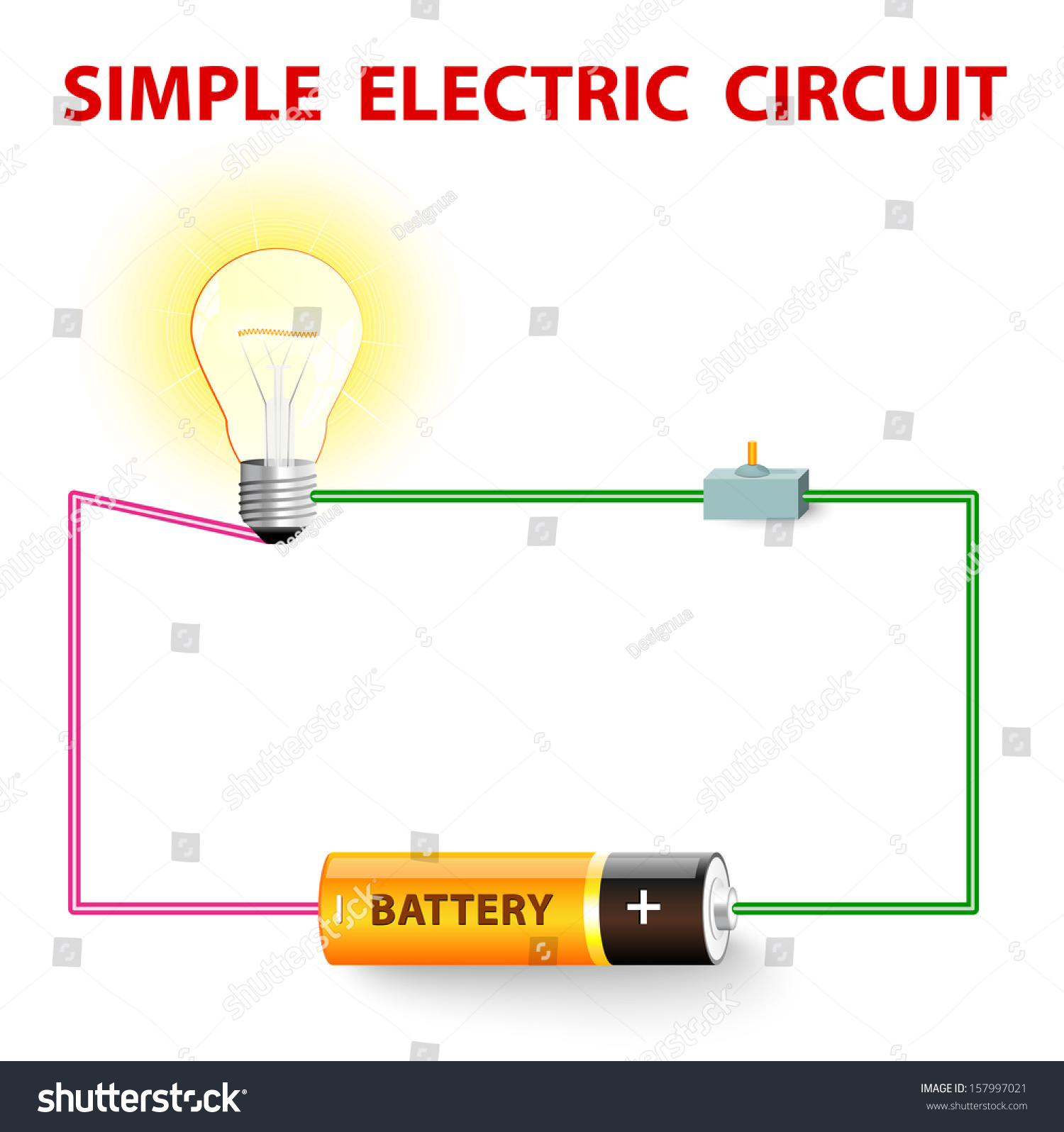 Switch Light Simple Electric Circuit Electrical Network Switch Stock Vector
