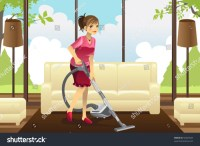 A Vector Illustration Of A Housewife Vacuuming The Carpet ...