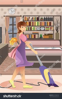 Vector Illustration Happy Woman Vacuuming Carpet Stock ...