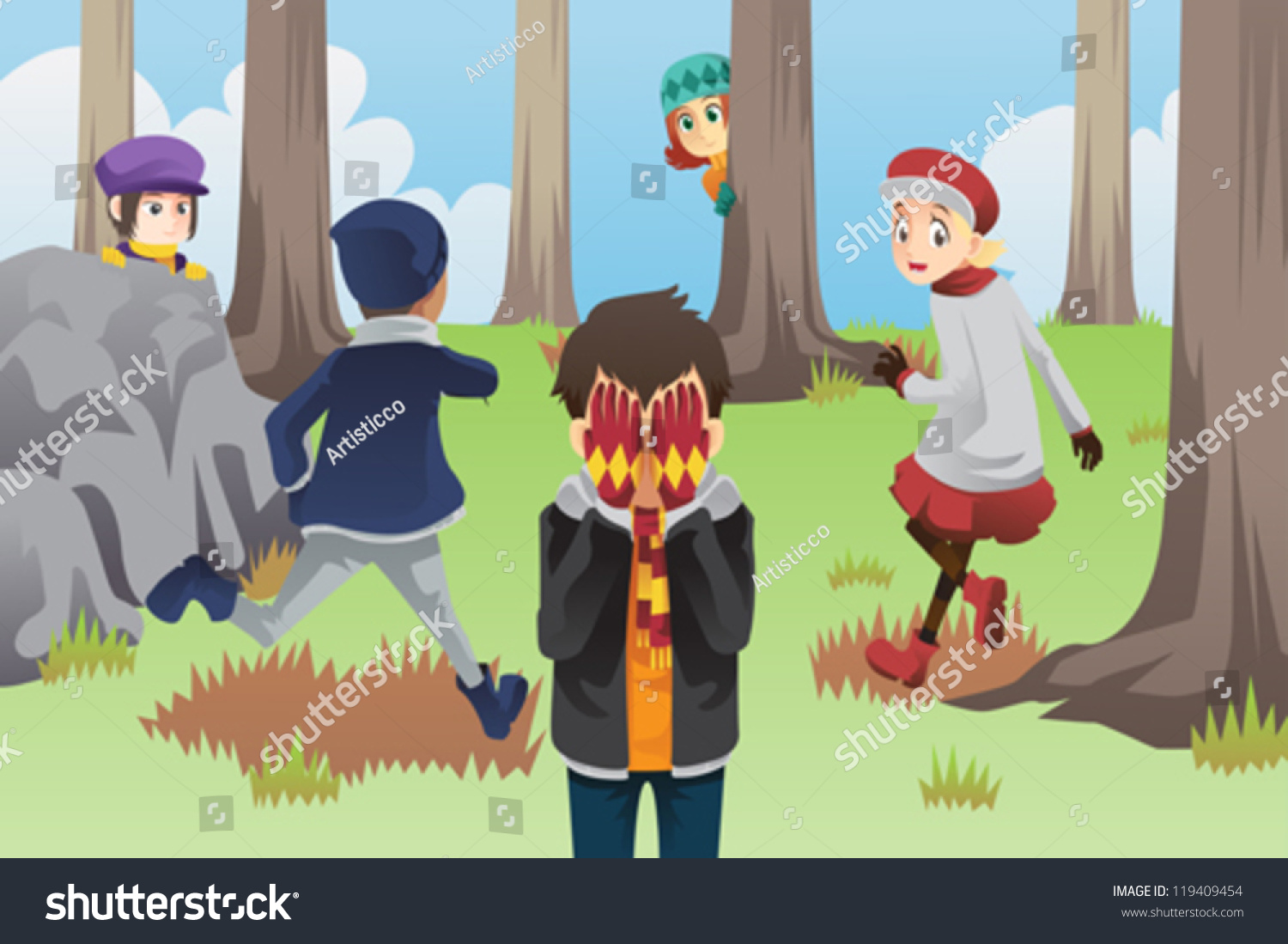 Hide And Seek Kids Vector Illustration Kids Playing Hide Seek Stock Vector Royalty