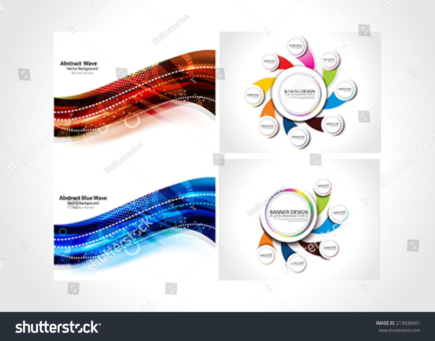 Store Banne Z Wave Abstract Background Web Banner Set Vector Stock Vector Royalty