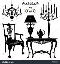 Antique Decorative Furniture Collection, Black Silhouettes ...