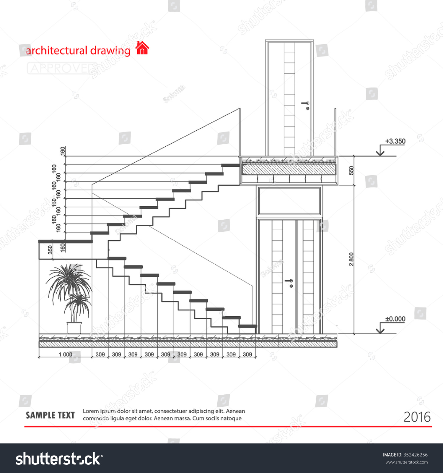Staircase Plans Drawing Architectural Drawings Stairs Stock Vector 352426256