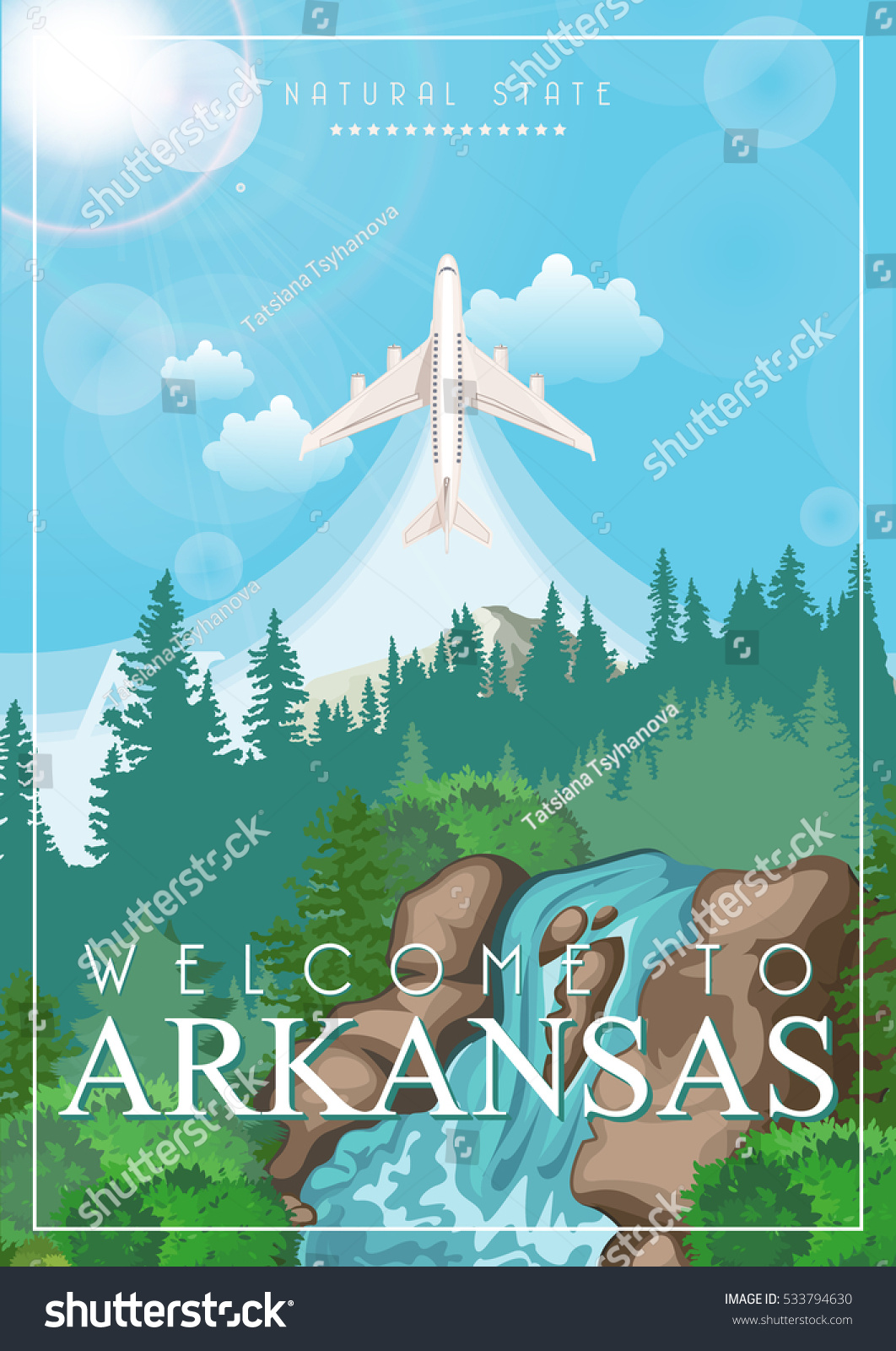 Wandposter Natur Arkansas Vector American Poster Usa Travel Stock Vector Royalty