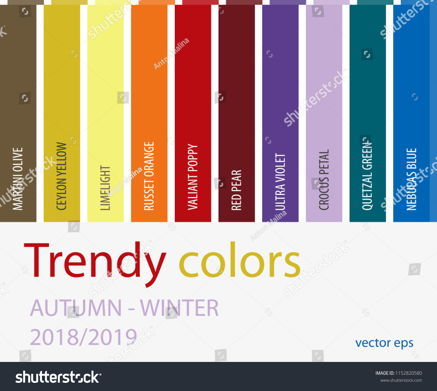 Color Trends Fall 2018 Autumn Winter 2018 2019 Color Trends Fashion Stock Vector Royalty