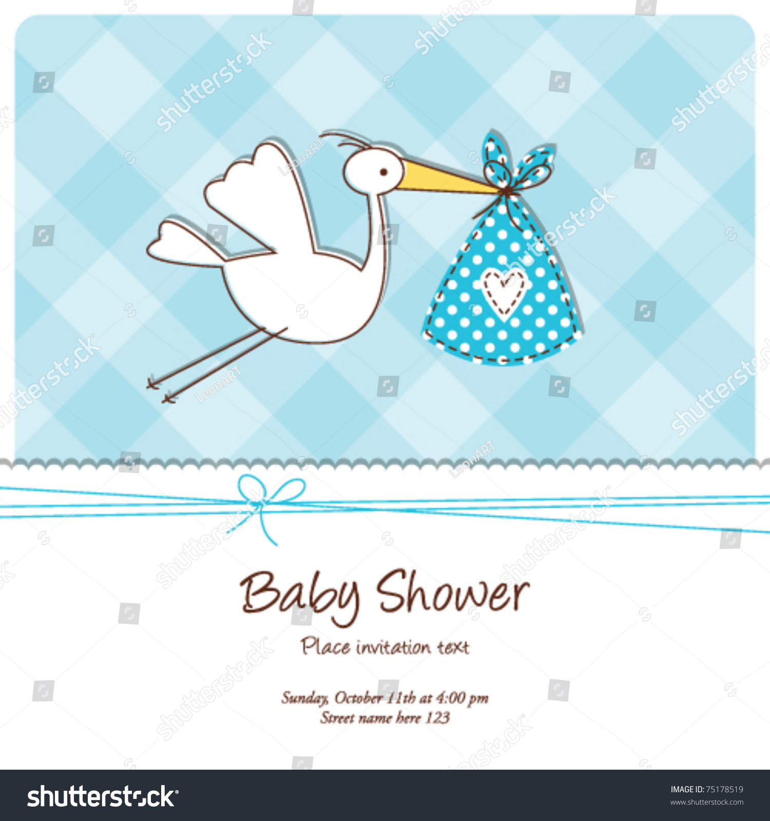 Baby Boy Shower Card Vector Illustration Template Auto M105 Military Trailer Wiring Diagram Invitation Cute Stock