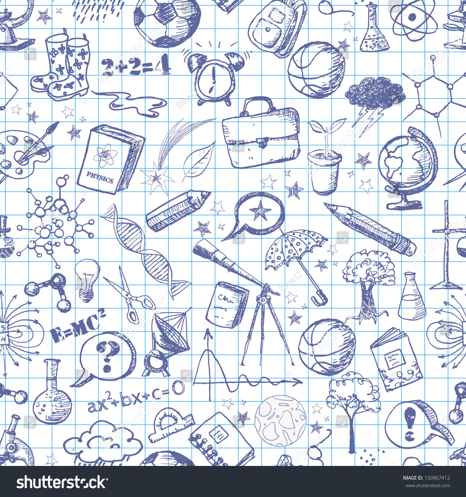 Cute Kid Wallpapers Free Download Back School Pen Sketch Seamless Background Stock Vector