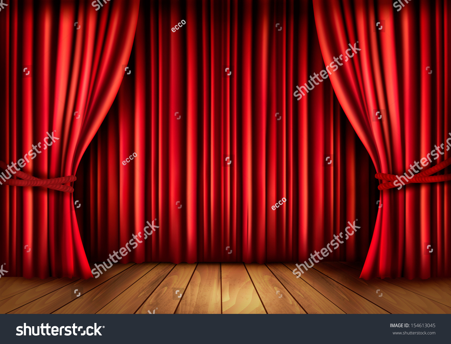 Red velvet curtain wallpaper -  Background With Red Velvet Curtain And A Wooden Floor Vector Illustration Download