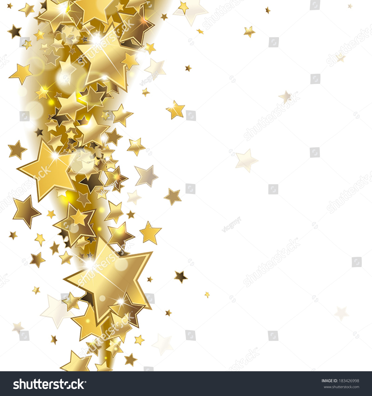 Falling Glitter Confetti Wallpapers Background Shiny Gold Stars Stock Vector 183426998