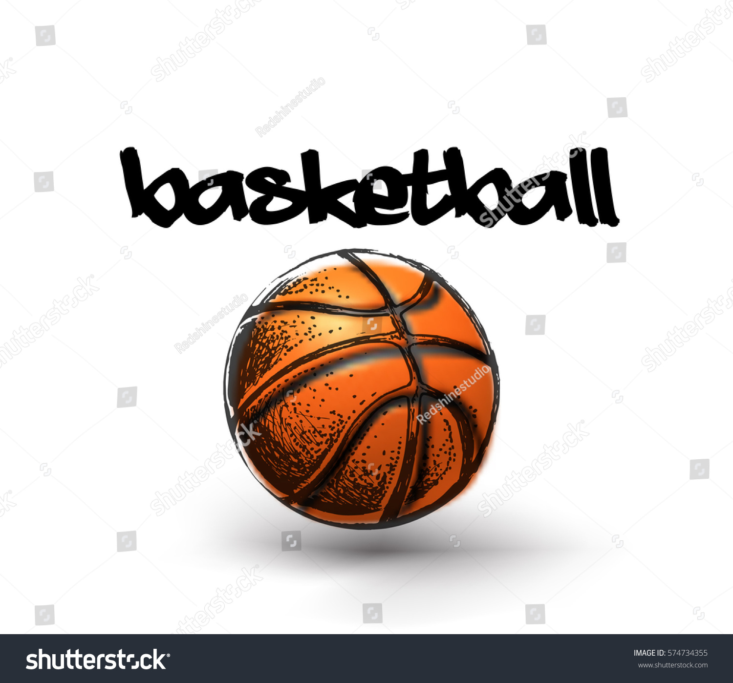 Basketball Ball Basketball Ball Over White Background Basketball Stok Vektör