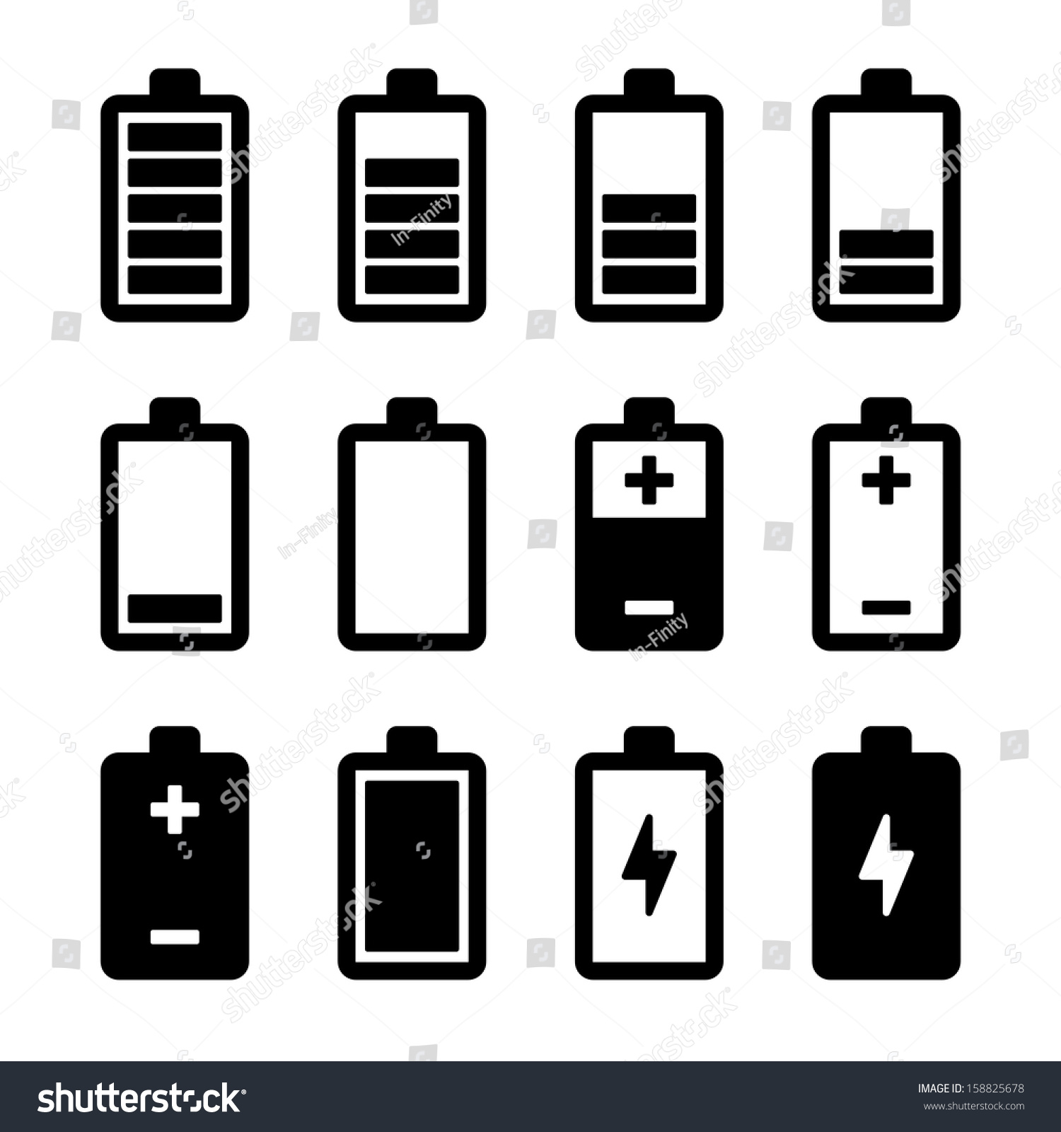 Battery Symbol Iphone Battery Icons Set Stock Vector 158825678 Shutterstock