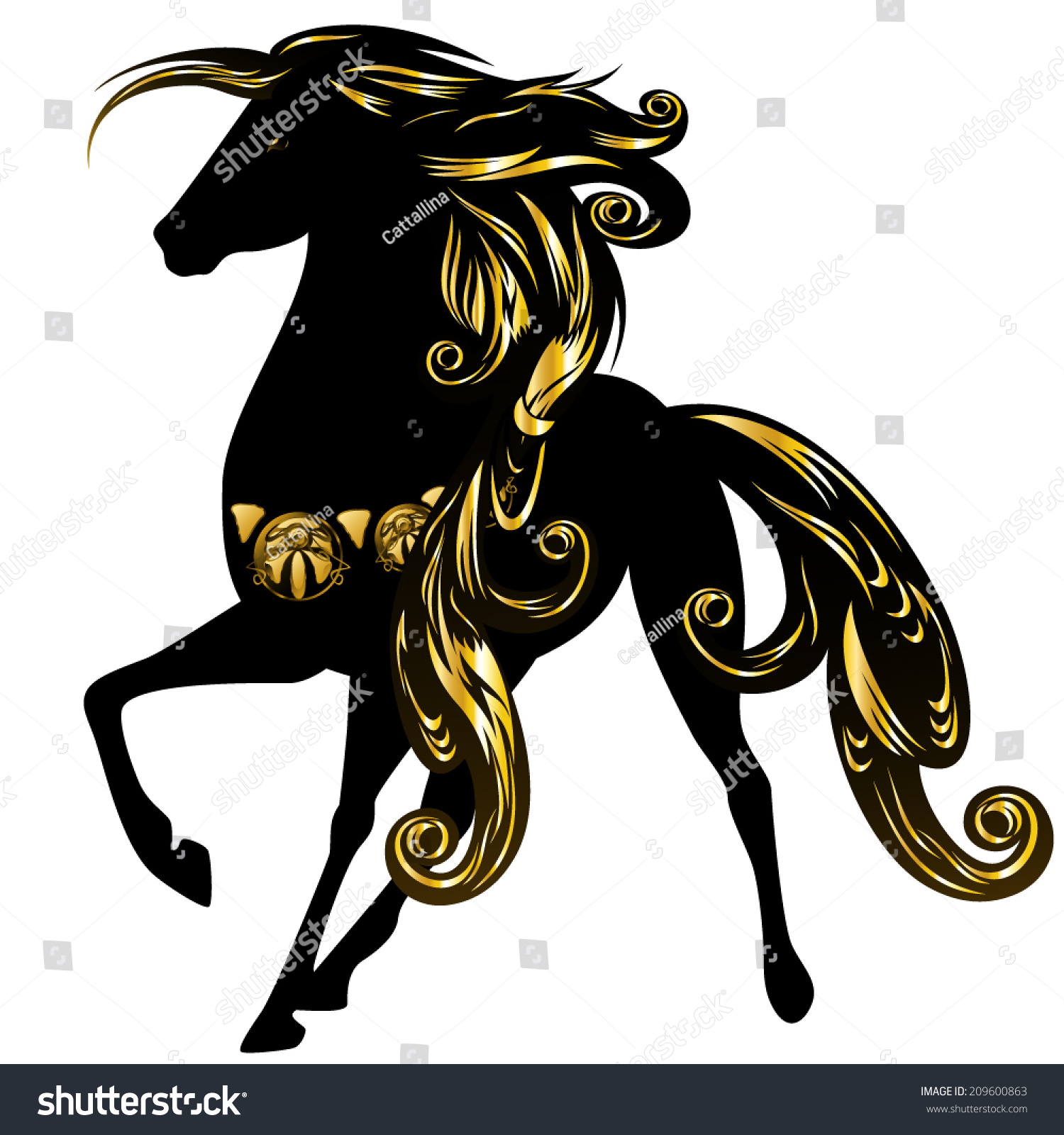 Beautiful Black Horse With Long Ornate Golden Mane - Vector Design - 209600863 : Shutterstock