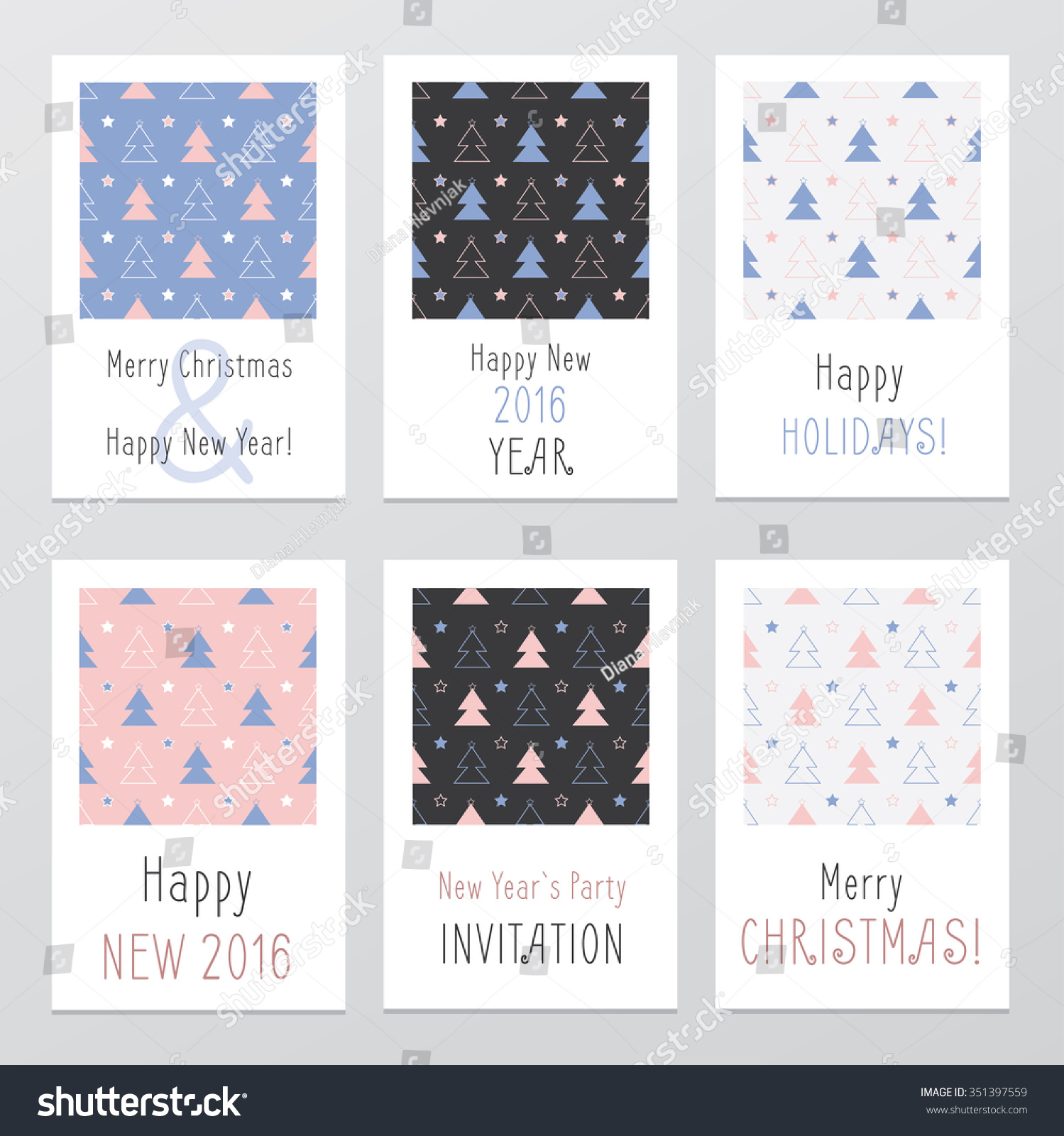 Pantone Christmas Ornaments Beautiful Handwritten Christmas Cards Seamless Pattern Stock