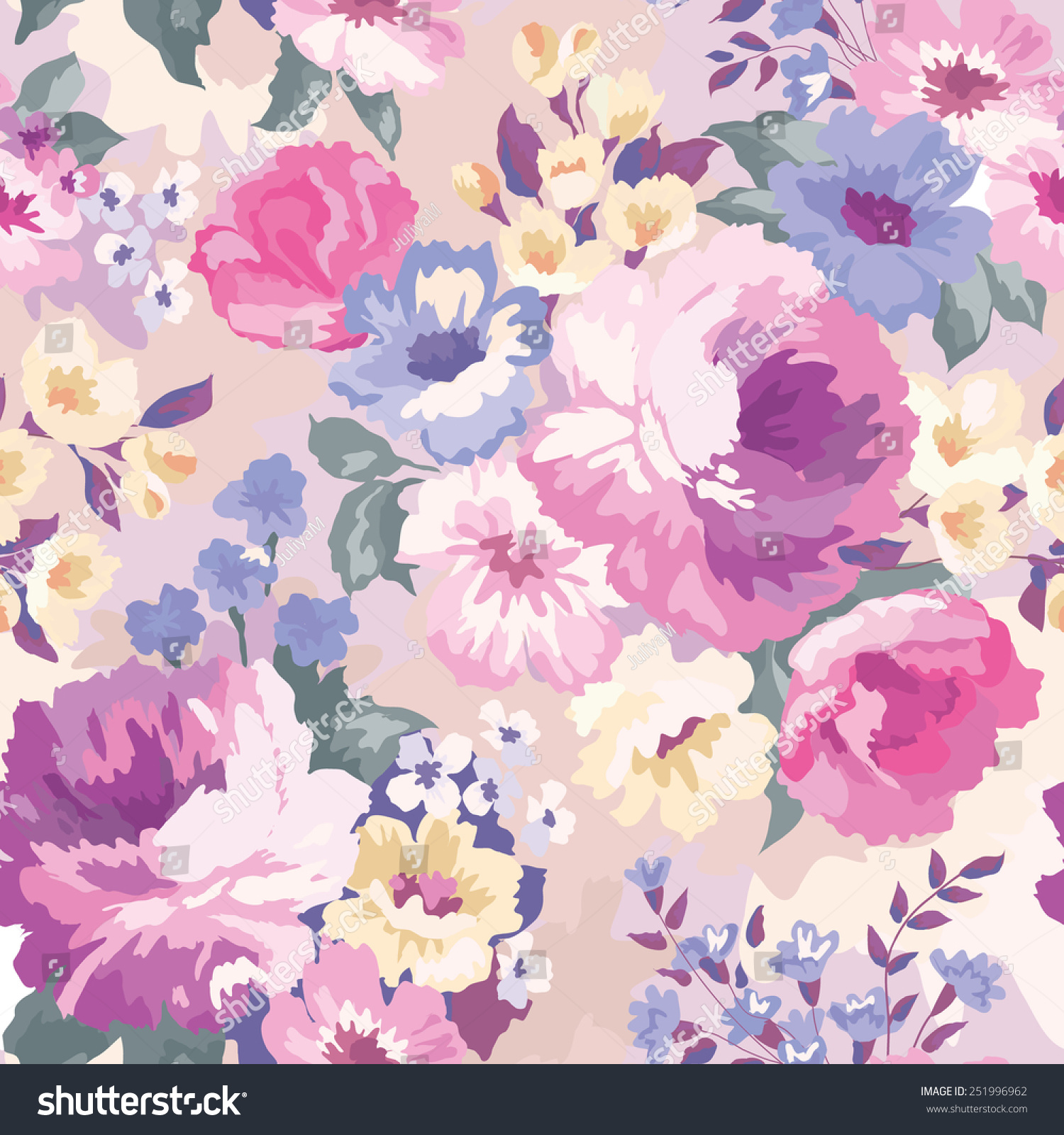 Beautiful seamless floral pattern watercolor background