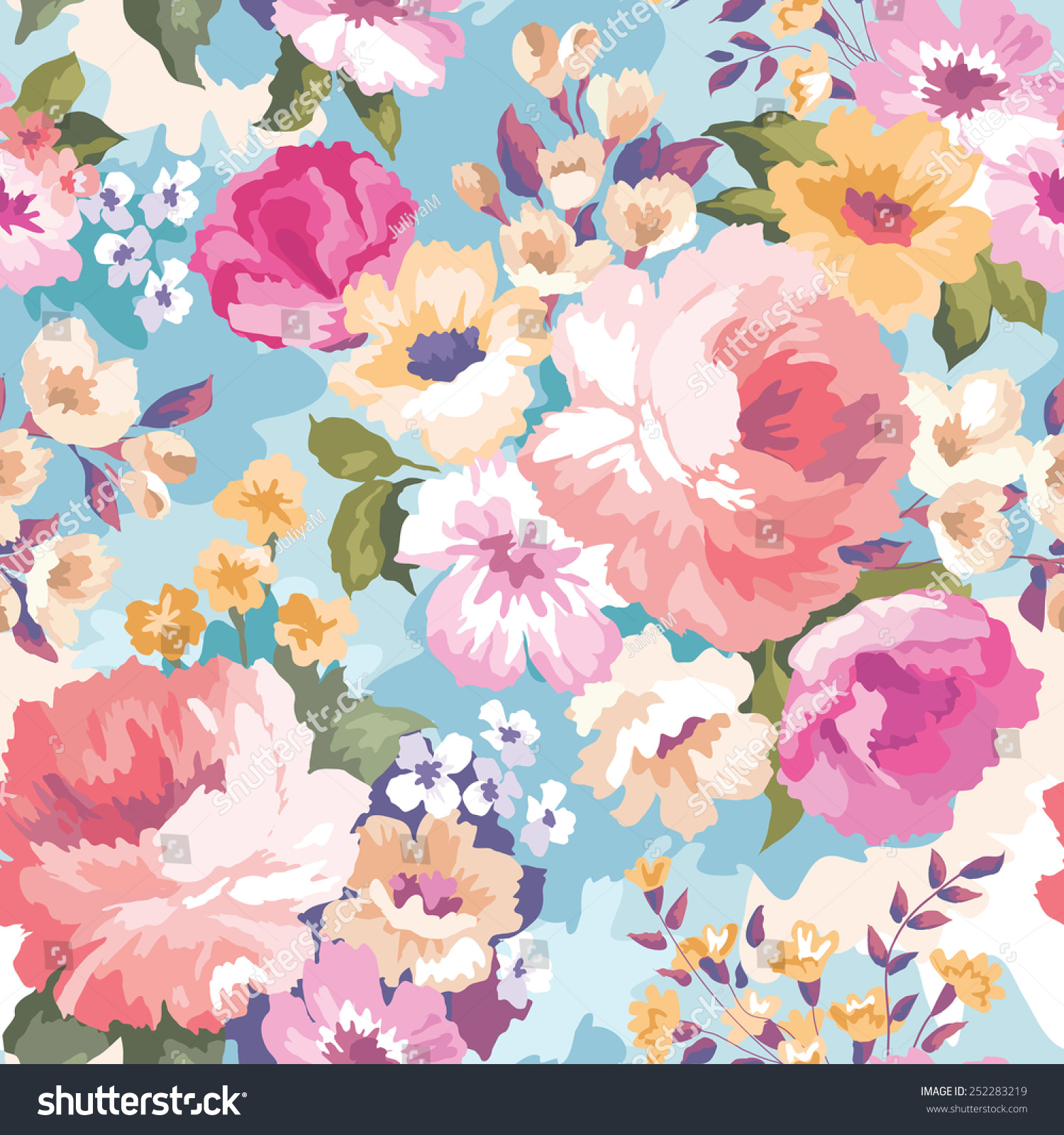 Cute Pretty Flower Calendar Wallpaper Beautiful Seamless Floral Pattern Watercolor Background