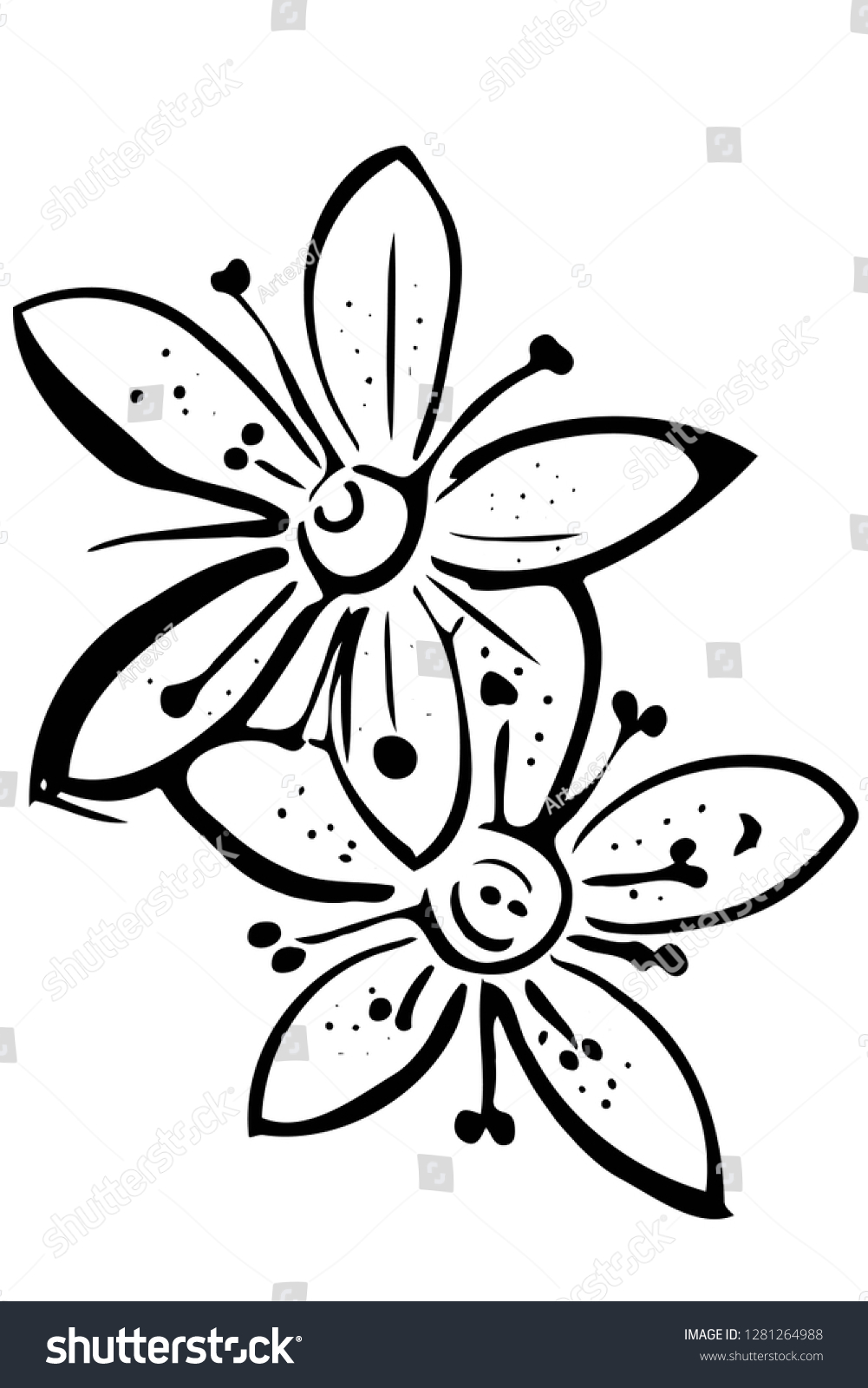 Arte Floral Vetor Black White Vector Sketch Blooming Beautiful Stock Vector Royalty