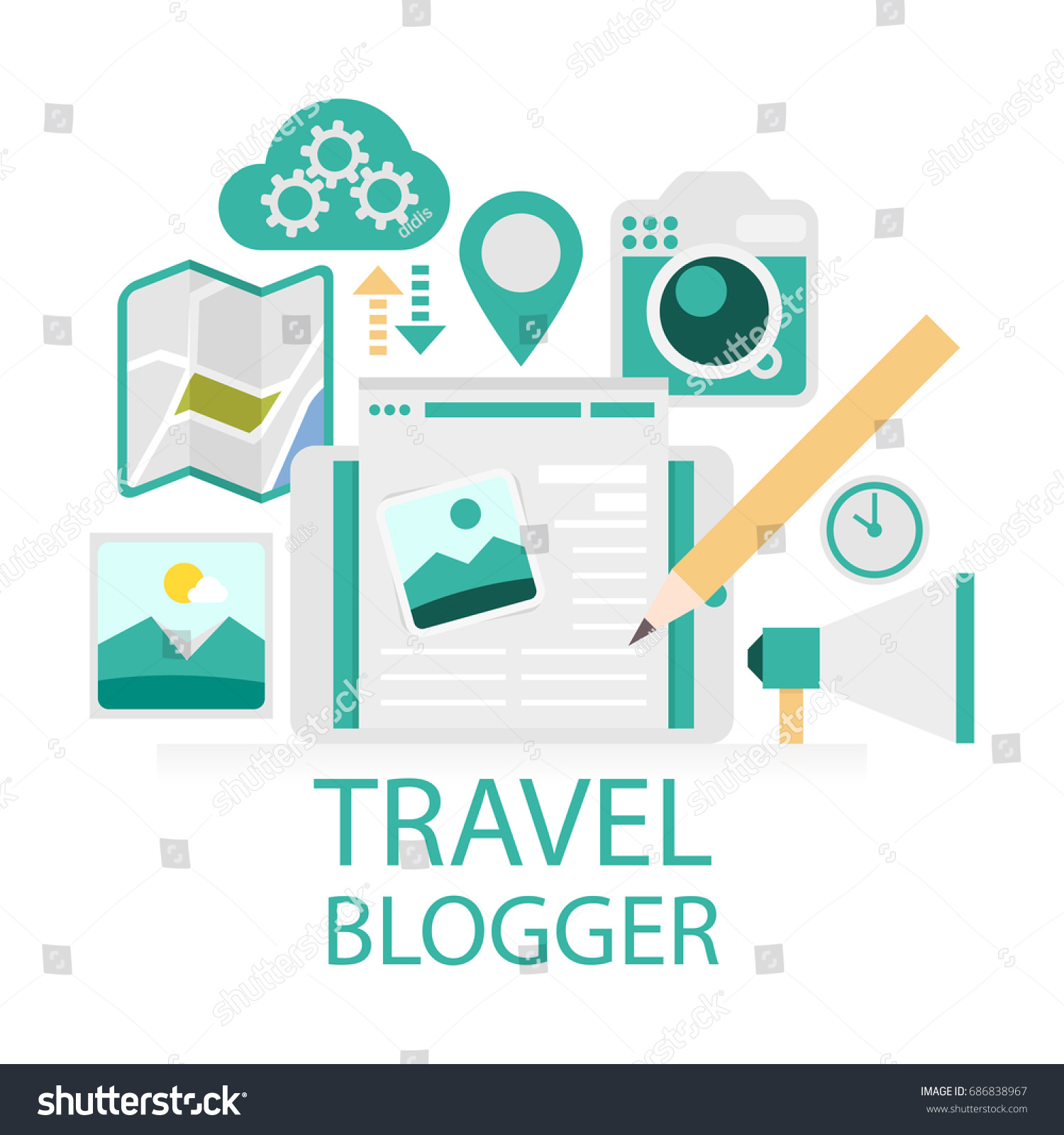 Travel Blog With Map Blog Concept Illustration Travel Blogger Concept Stock