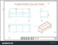 Blueprint Sofa Vector Front View Top Stock Vector ...