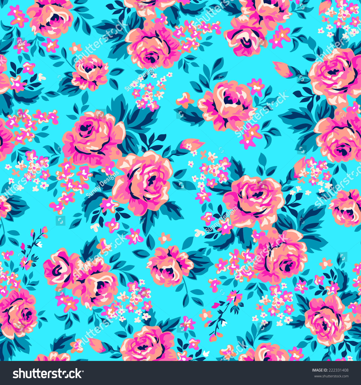 Cute Zig Zag Wallpapers Bright Roses On Blue Seamless Background Stock Vector