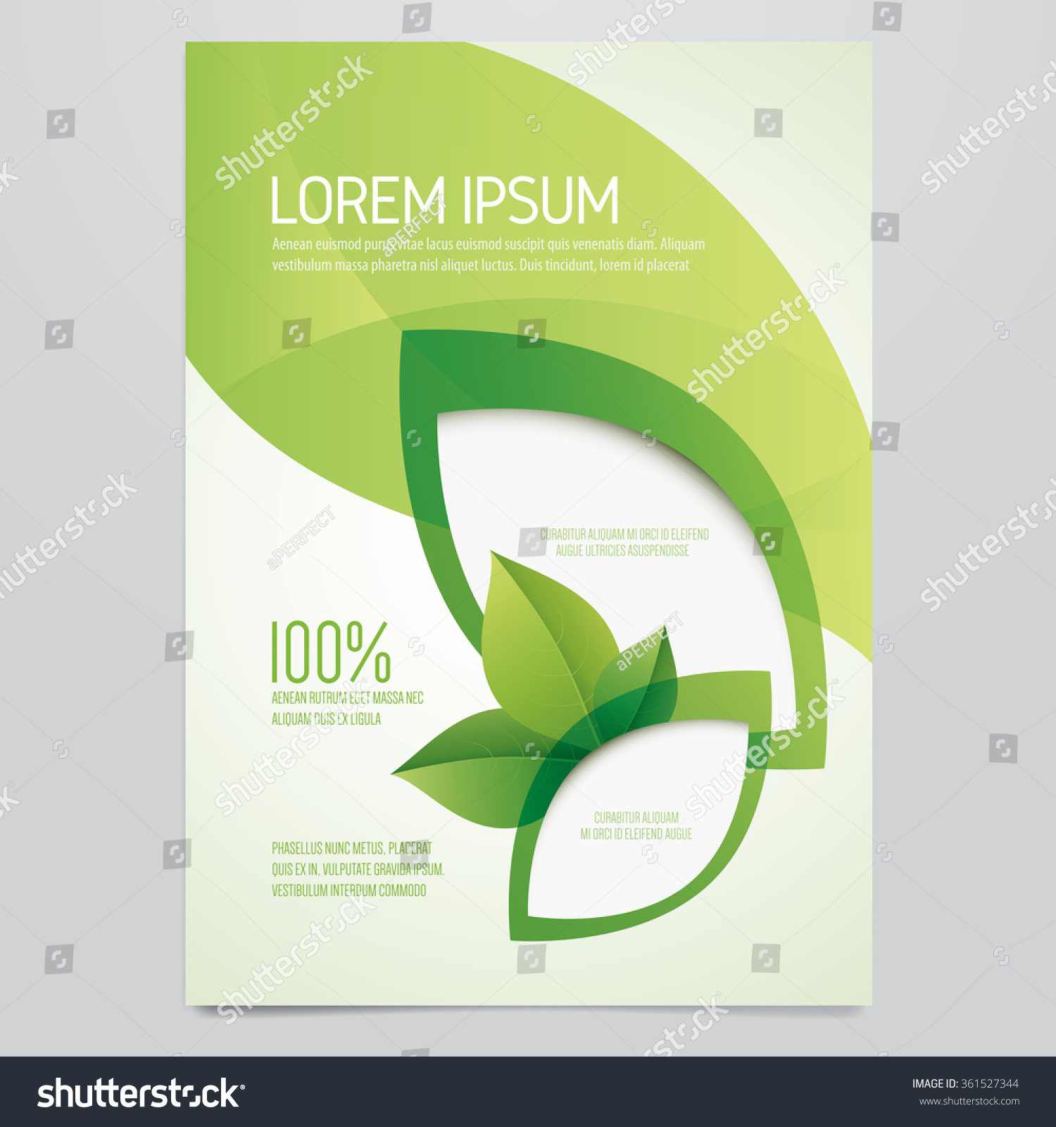 Brochure flyer poster magazine cover vector template modern green leaf environment