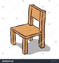 Brown Wooden Chair Cartoon Vector Illustration Stock ...