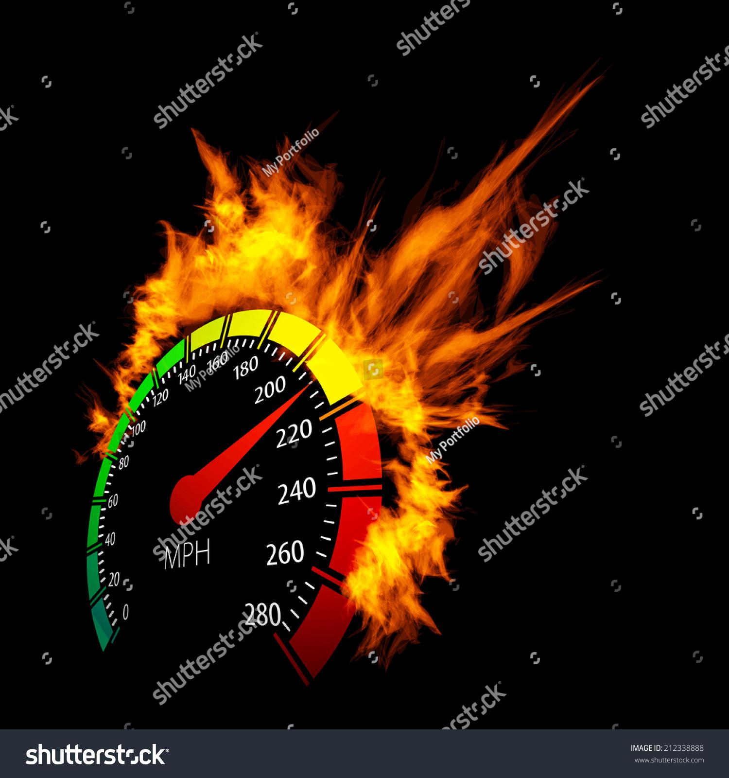 Danger 3d Wallpaper Download Burning Vector Speedometer Fire Flame Illustration Stock