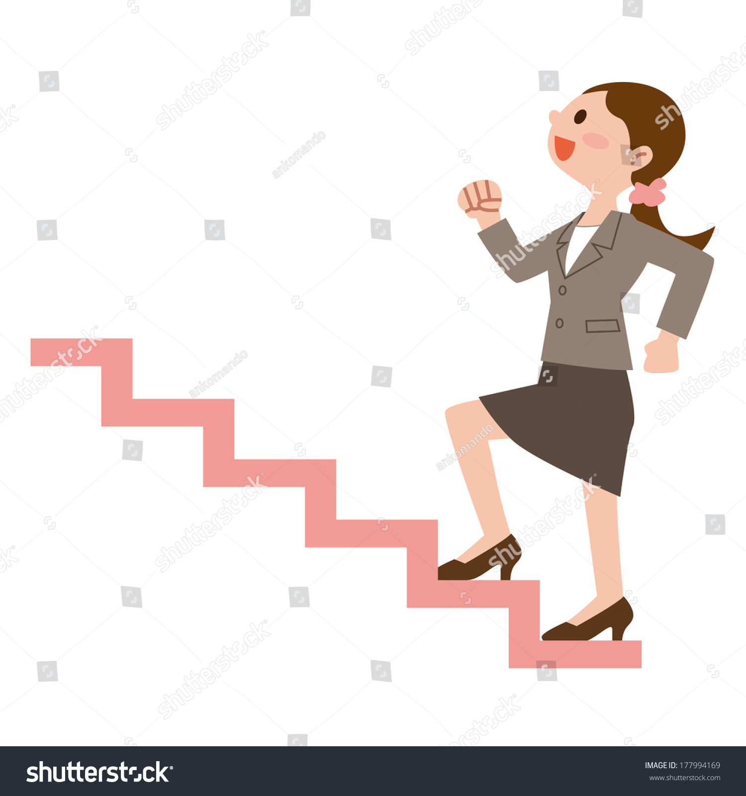 Ascenso Escalier Business Woman Climb Stairs Vectores En Stock 177994169