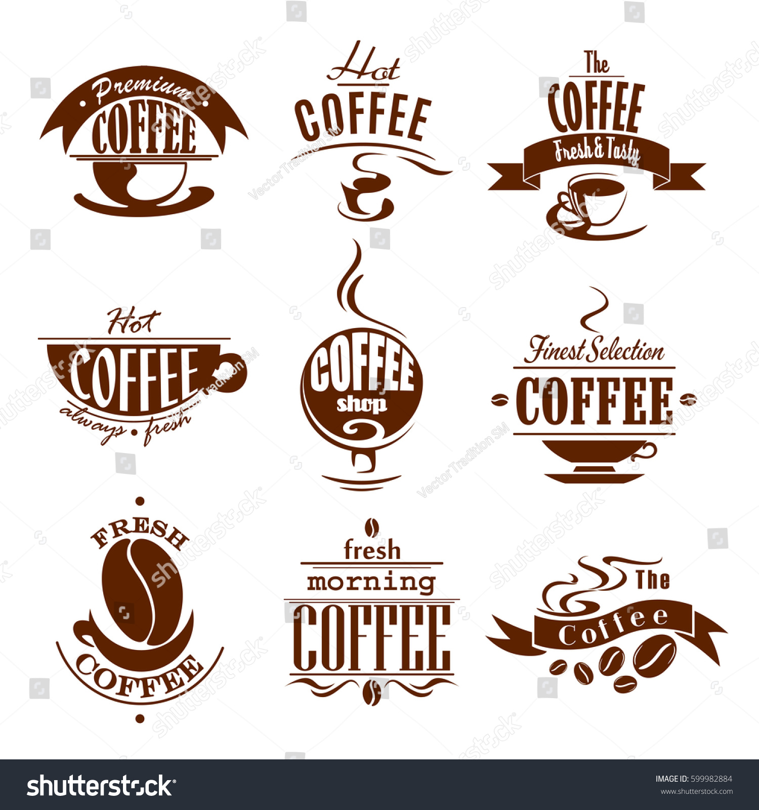 Americano Coffee English Cafeteria Cafe Icons Coffee Drinks Cups Stock Vector