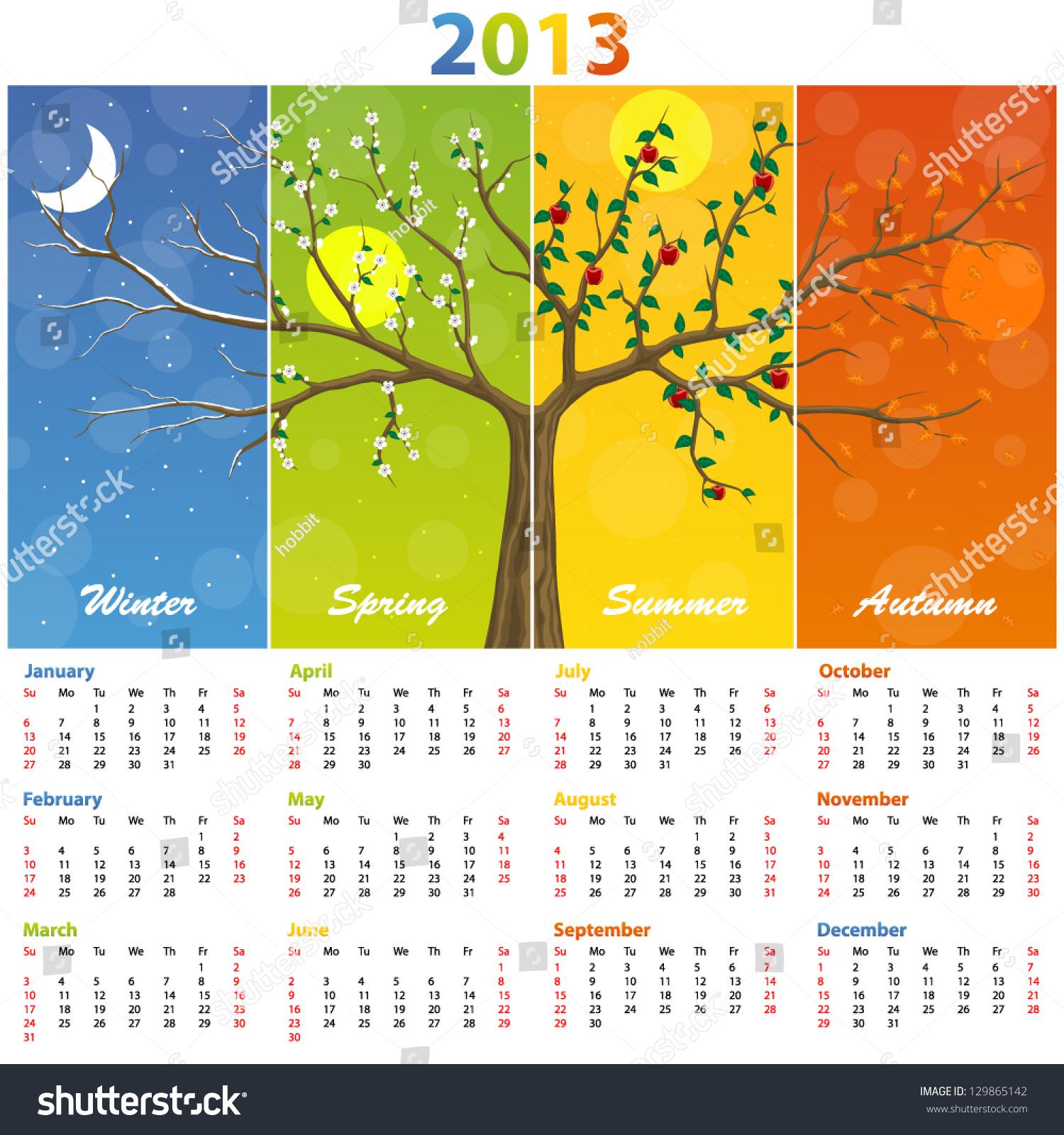 Year 2018 Calendar Time And Date Calendar 2013 Seasons Stock Vector 129865142 Shutterstock
