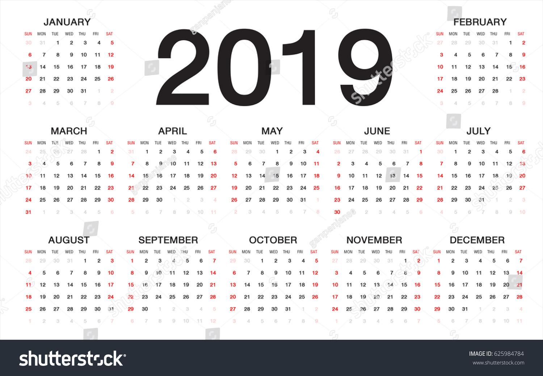 Printable Calendar 2018 Templates Print Calendar Template Calendar 2019 Week Starts Sunday Business Stock Vector