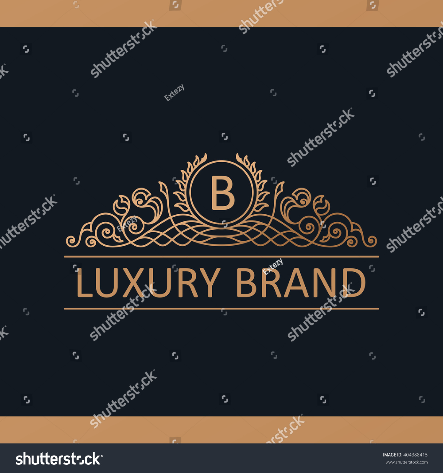 Royal Design Calligraphic Luxury Line Logo Template Flourishes Stock Vector