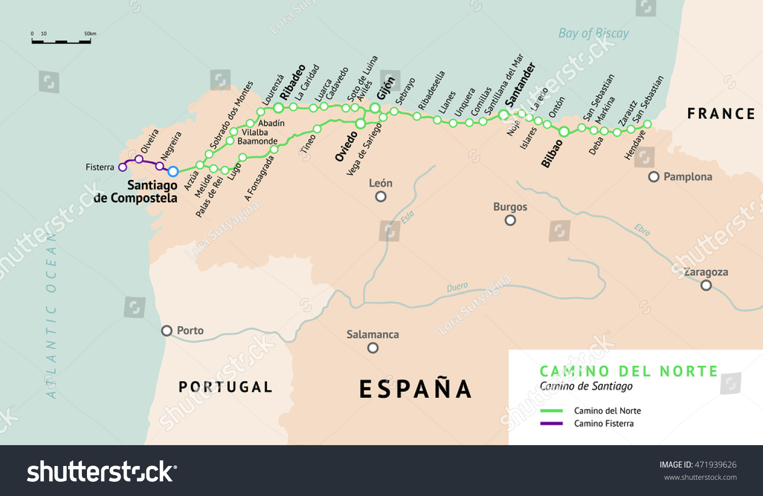 Camino De B Camino Del Norte Map Camino De Stock Vector Royalty Free