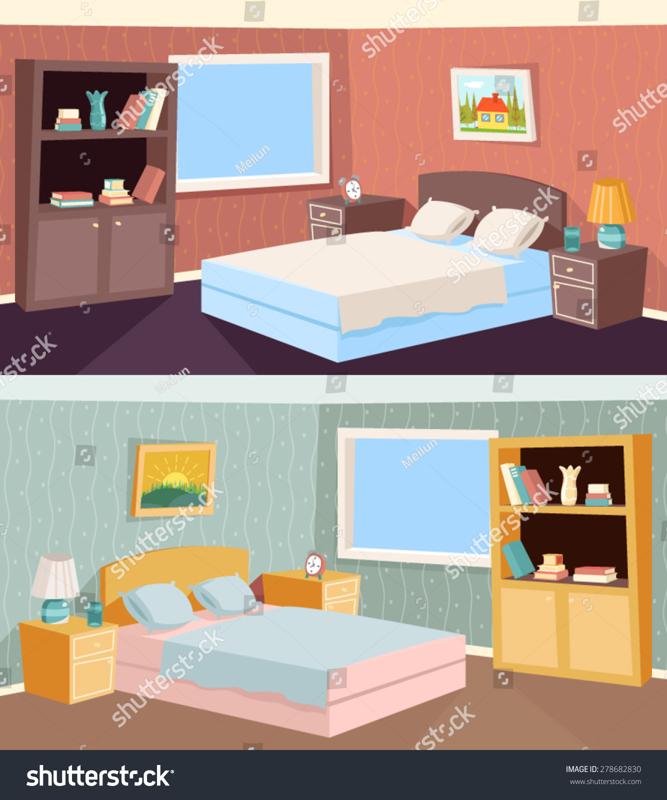 Dessin Lit Double Cartoon Bedroom Apartment Living Room Interior House Room