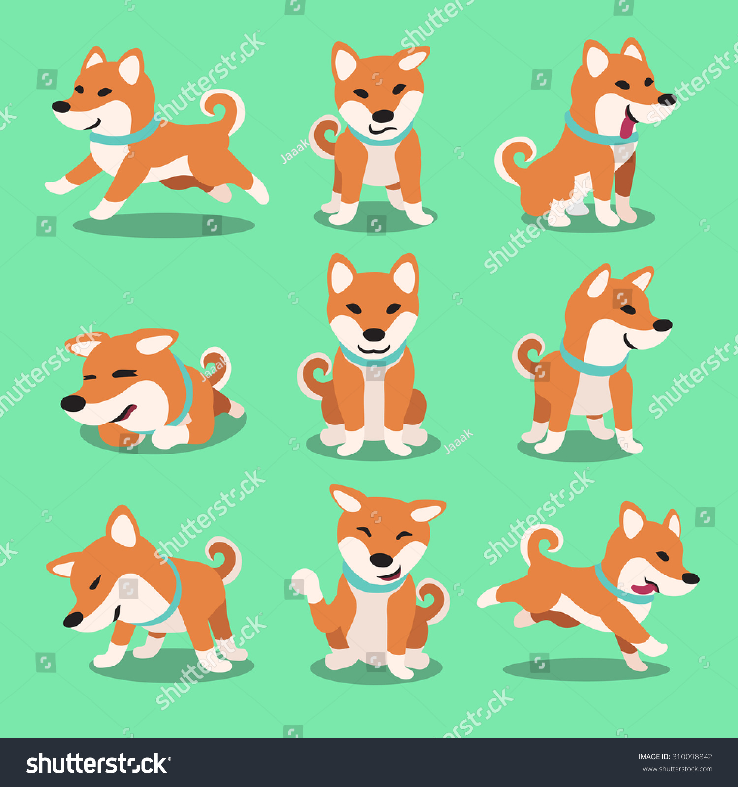Shiba Inu Cute Desktop Wallpaper Cartoon Character Shiba Inu Dog Poses Stock Vector
