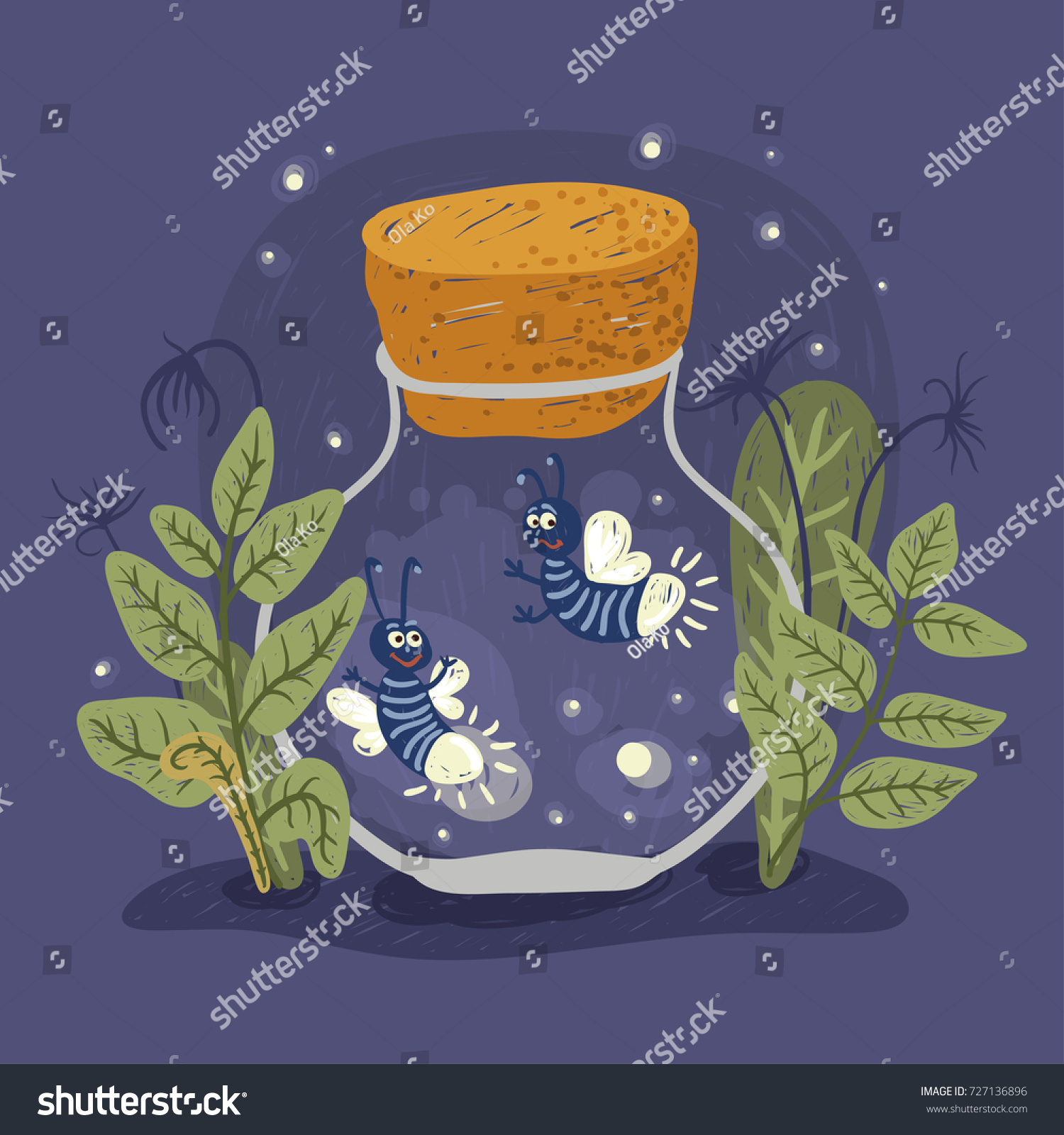 Firefly Jar Art Cartoon Firefly Jar Vector Illustration Stock Vector Royalty Free