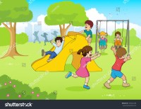Cartoon Illustration Children Playing Playground Stock ...