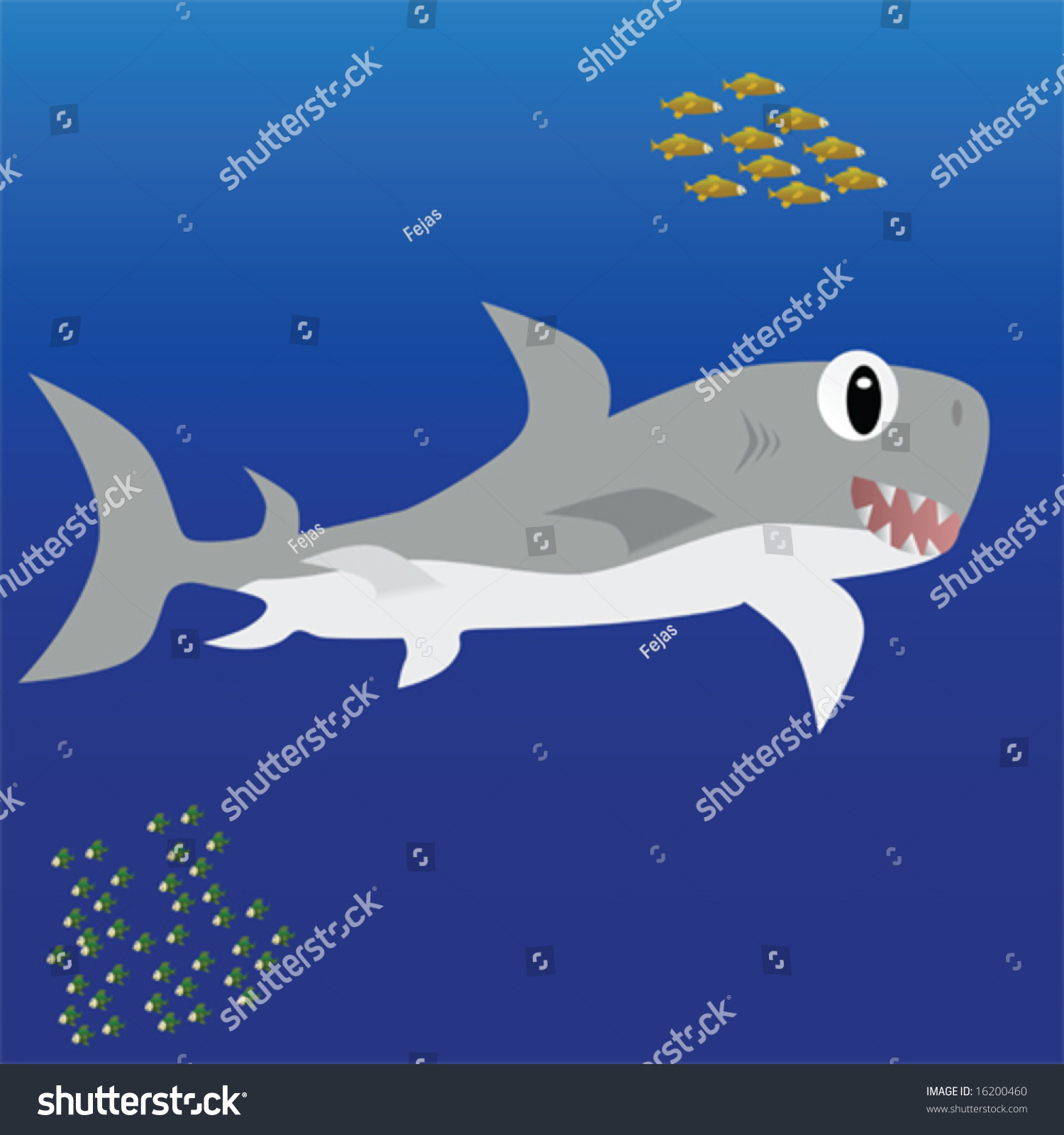 Isolation Carton Cartoon Isolation Of A Great White Shark Swimming