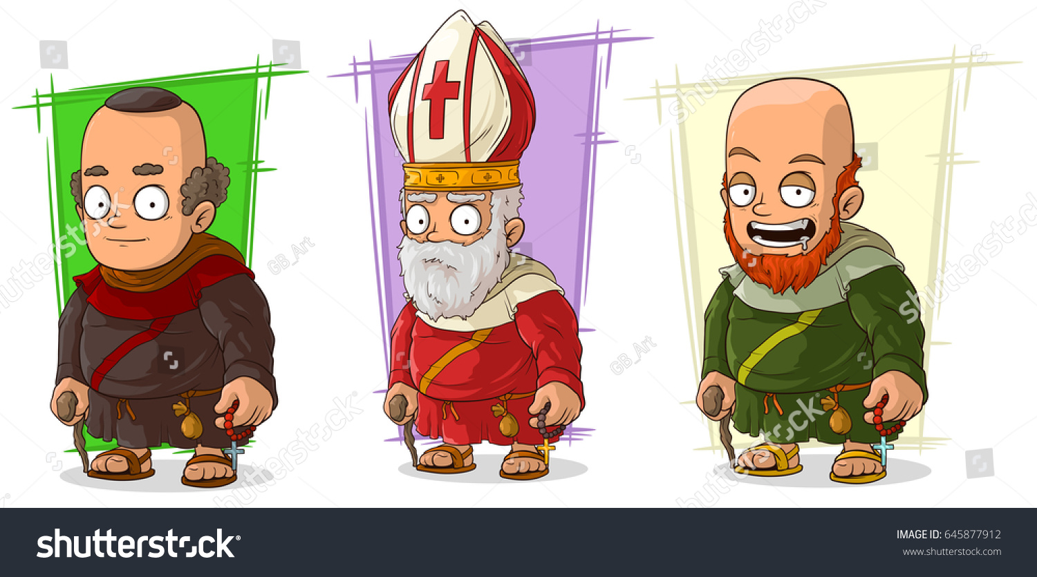 Stock Cuisine Saint Priest Cartoon Old Medieval Funny Monk Priest Stock Vector Royalty Free