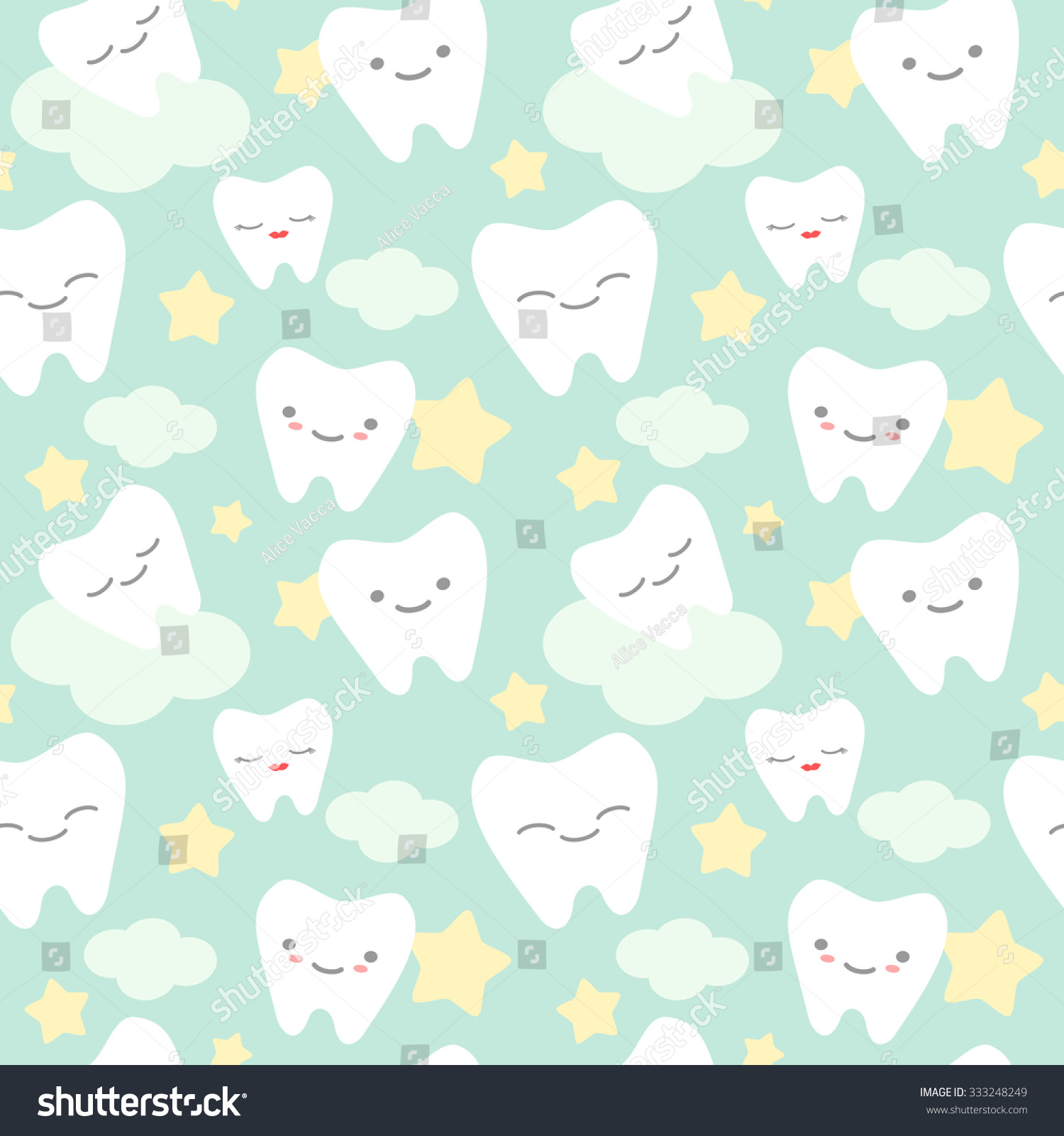Cute Fairy Wallpaper Download Cartoon Teeth Cute Colorful Seamless Vector Stock Vector