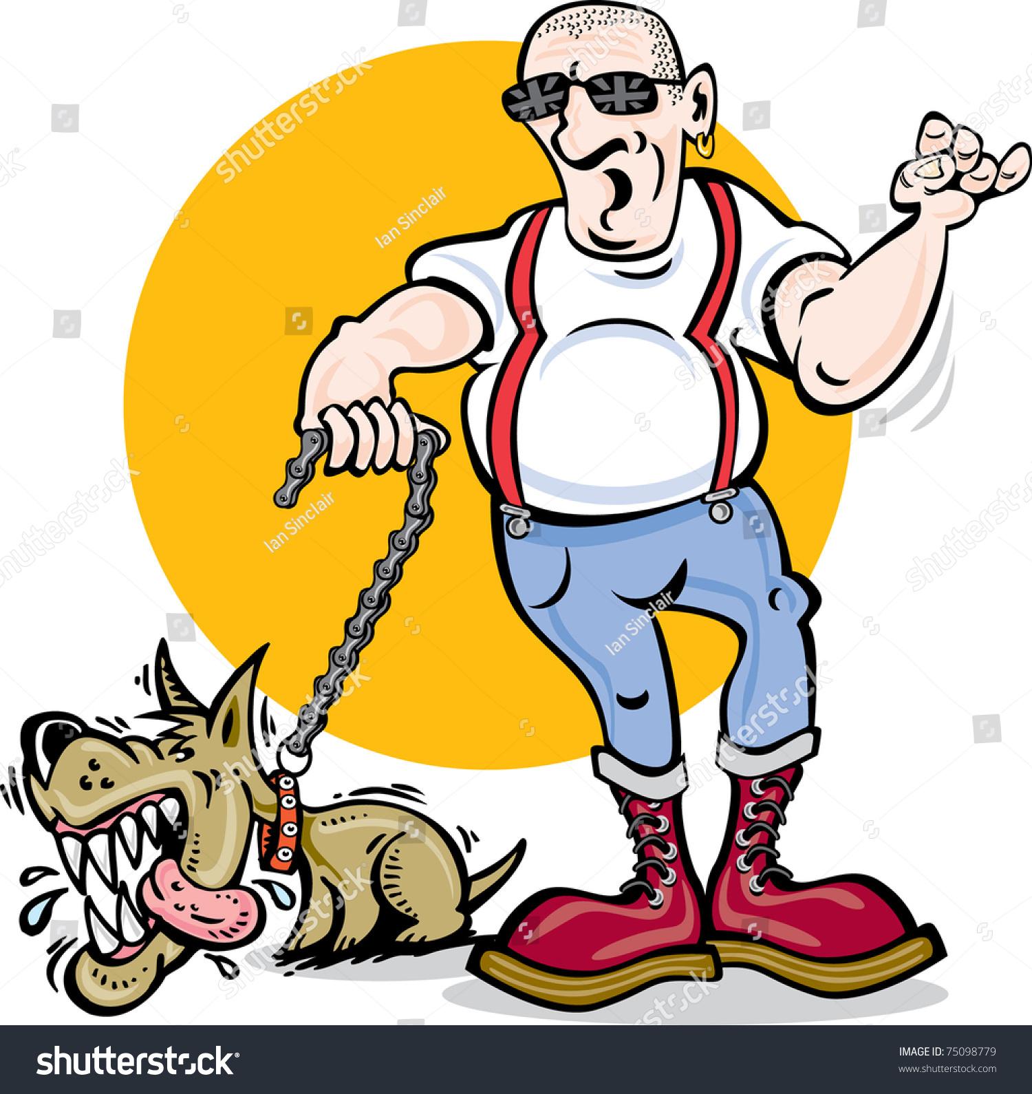 Cartoon vector of skinhead and mad dog skinhead dog