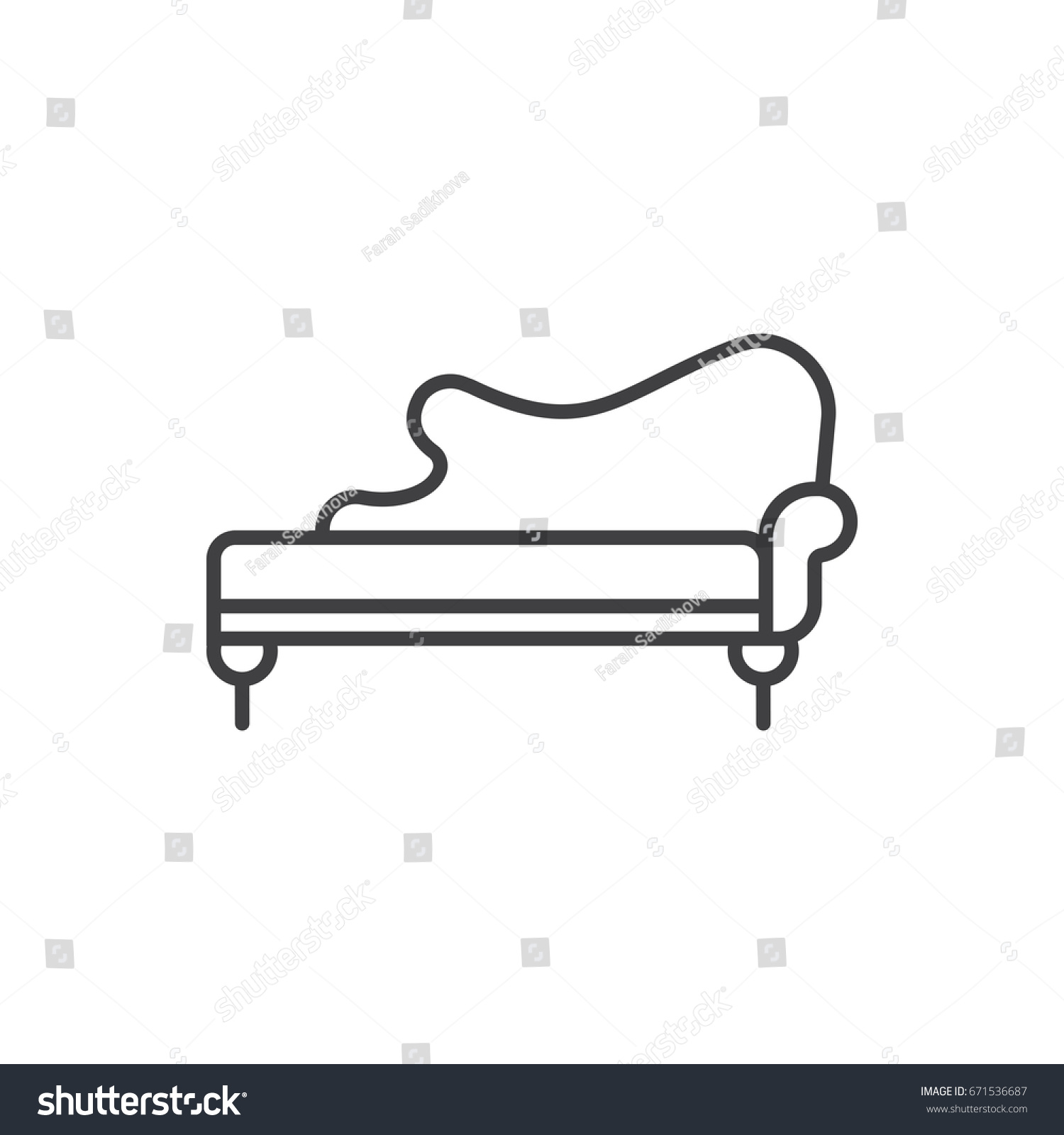 Chaise Spoon Chaise Lounge Line Icon Vintage Sofa Stock Vector Royalty Free